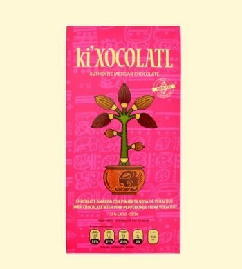 ki xocolatl pimienta rosada, chocolate semi amargo, cacao criollo, chocolate mexicano